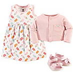 Hudson Baby® Size 6-9M 3-Piece Ice Cream Cardigan, Dress and Shoe Set in Pink