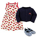 Hudson Baby® Size 6-9M Watermelon 4-Piece Dress, Cardigan and Shoe Set in Red/Blue