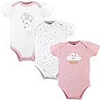 Hudson Baby® Size 3-6M 3-Pack Cloud Bodysuits in Pink