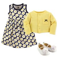 Hudson Baby Size 0-3M 3-Piece Daisy Cardigan, Dress and Shoe Set in Blue/Yellow