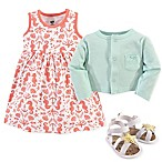 Hudson Baby Size 6-9M 3-Piece Sea Cardigan, Dress and Shoe Set in Mint/Coral
