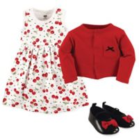 Hudson Baby Size 3-6M 3-Piece Cherry Cardigan, Dress and Shoe Set in Red/Black