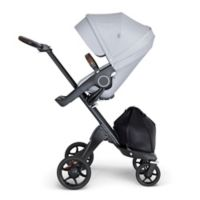 Stokke® Xplory® Stroller in Grey Melange with Black Frame and Brown Handle