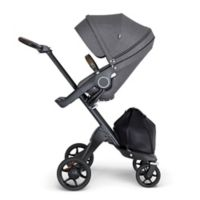 Stokke® Xplory® Stroller in Black Melange with Black Frame and Brown Handle