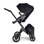Stokke® Xplory® Stroller in Black with Black Frame and Brown Handle