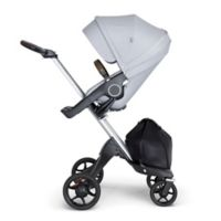 Stokke® Xplory® Stroller in Grey Melange with Silver Frame and Brown Handle