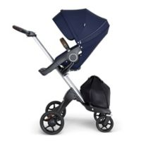 Stokke® Xplory® Stroller in Deep Blue with Silver Frame and Brown Handle