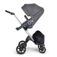 Stokke® Xplory® Stroller in Black Melange with Silver Frame and Brown Handle