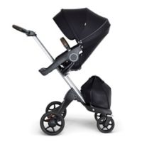 Stokke® Xplory® Stroller in Black with Silver Frame and Brown Handle