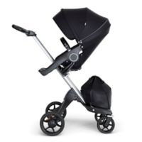 Stokke® Xplory® Stroller in Black with Silver Frame and Black Handle