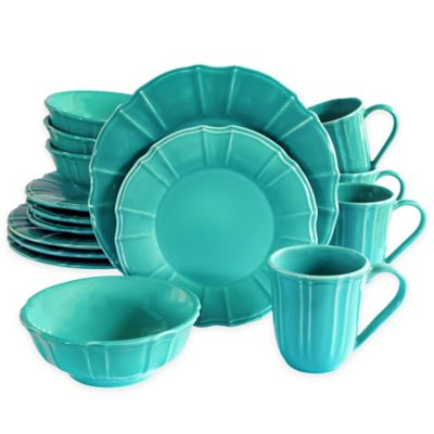 Euro Ceramica Chloe 16-Piece Dinnerware Set in Turquoise  sc 1 st  Bed Bath \u0026 Beyond & Buy Turquoise Dinnerware Sets from Bed Bath \u0026 Beyond