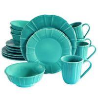 Euro Ceramica Chloe 16-Piece Dinnerware Set in Turquoise