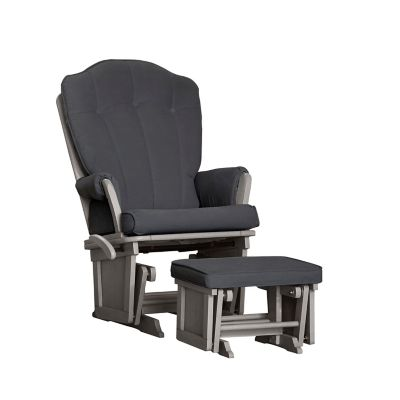 Baby Cache Vienna Glider And Ottoman In Dark Grey