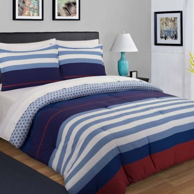 nouvelle home nautical stripe reversible king duvet cover set in bluered - Nautical Bedding