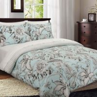 Nouvelle Home Sketch Floral Reversible King Comforter Set in Blue/Grey