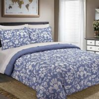 Nouvelle Home Porcelain Reversible King Comforter Set in Blue/White