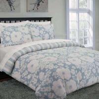 Chambray Floral Reversible Full/Queen Duvet Cover Set in Blue/White