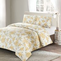 Style Quarters Savanah Floral King Duvet Cover Set in Yellow/Grey