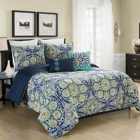 Blissful Living Malia 5-Piece Full/Queen Reversible Comforter Set in Blue
