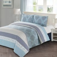 Lilou King Duvet Cover Set in Blue/Grey