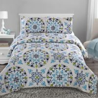 Cassie King Duvet Cover Set in Blue/Green