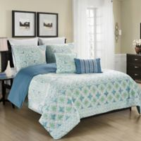 Blissful Living Verusha 5-Piece Reversible Full/Queen Comforter Set in Aqua
