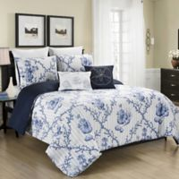 Blissful Living Cape Anne 5-Piece Reversible Full/Queen Comforter Set in Blue