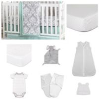 The Peanutshell™ Minted Damask 11-Piece Sleep Essentials Crib Set in Mint/Grey