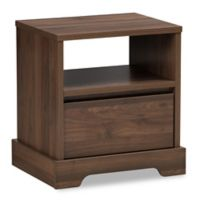 Baxton Studio Burnwood Nightstand in Walnut