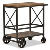 Baxton Studio Chester Mobile Serving Cart in Oak/Black