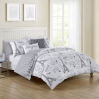 VCNY Home Paris Night Reversible Twin Duvet Cover Set in Taupe