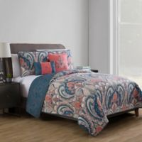 VCNY Home Casa Re Àl Reversible Twin XL Quilt Set in Coral