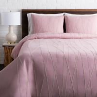 Surya Mio Embroidered King/California King Duvet Cover Set in Lilac/Beige