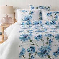Surya Gardenia Full/Queen Duvet Cover Set in White/Pale Blue