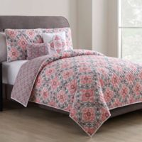 VCNY Home Winsted Reversible Full/Queen Duvet Cover Set in Peach