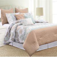 Pacific Coast® Santorini 8-Piece Queen Comforter Set in Beige