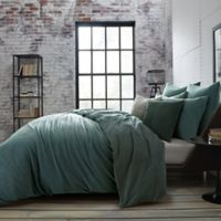 Theo Textured Full/Queen Duvet Cover in Green