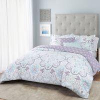 Nicole Miller Medallion Reversible King Comforter Set in Purple/White