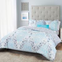 Nicole Miller Damask Reversible Queen Comforter Set in White/Aqua
