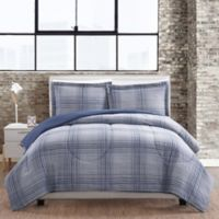 Linen Plaid 3-Piece Full/Queen Comforter Mini Set in Blue