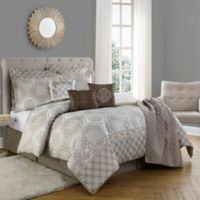 Bella Medallion Print 10-Piece Full/Queen Comforter Set in Taupe