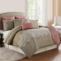 Cleo Embroidered Reversible 10-Piece Full/Queen Comforter Set in Rose/Clay