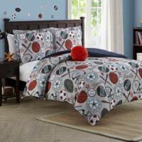 League Sports Reversible 3-Piece Twin Comforter Set in Light Gray