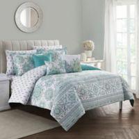 Clarissa 10-Piece King Comforter Set in Blue/Green