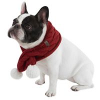 UGG® Pet Cable Knit Scarf with Pom-Poms in Red