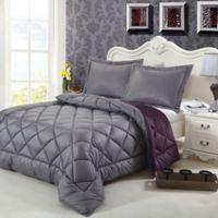 Swiss Comforts Down Alternative Reversible Twin Comforter Set in Grey/Blackberry