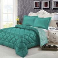 Swiss Comforts Down Alternative Reversible Twin Comforter Set in Green