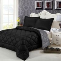 Swiss Comforts Down Alternative Reversible Twin Comforter Set in Black/Grey