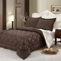 Swiss Comforts Down Alternative Reversible Full/Queen Comforter Set in Brown/Oatmeal