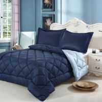 Swiss Comforts Down Alternative Reversible King Comforter Set in Sky Blue